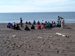 Culture Camp students at Cape Krusenstern (Photo by Patrick Reed 2009).