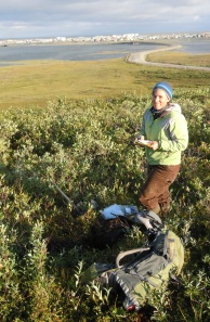 Sampling clay near Kotzebue, Alaska