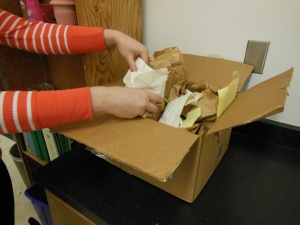 Lyssia digs into box (Photo by Courtney Eastman)